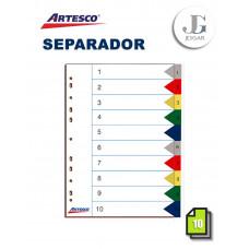 Separadores Index Numérico A4 X 10 ARTESCO