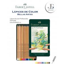 Lápices de Color Profesionales Bellas Artes Estuche Metal x12 Pitt Pastel FABER CASTELL