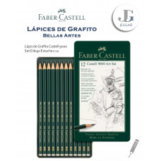 Lápiz de Grafito Bellas Artes Set de Dibujo Estuche Metálico x12 Castell 9000 Dureza 8B 6B 7B 5B 4B 3B 2B B HB F H 2H FABER CASTELL