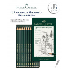 Lápiz de Grafito Bellas Artes Set de Diseño Estuche Metálico x12 Castell 9000 Dureza 5B 4B 3B 2B B HB F H 2H 3H 4H 5H FABER CASTELL