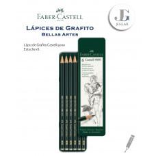 Lápiz de Grafito Bellas Artes Estuche Metálico x6 Castell 9000 Dureza HB B 2B 4B 6B 8B FABER CASTELL