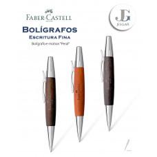 Bolígrafo e-motion madera de peral B marrón oscuro Faber-Castell