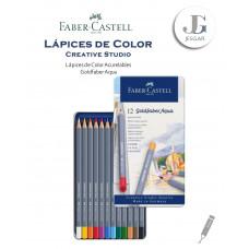 Lápices de color acuarelables 12 Creative Studio Goldfaber Aqua Estuche de Metal FABER CASTELL