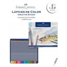 Lápices de color acuarelables 24 Creative Studio Goldfaber Aqua Estuche de Metal FABER CASTELL