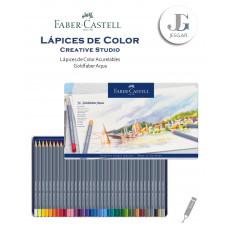 Lápices de color acuarelables 36 Creative Studio Goldfaber Aqua Estuche de Metal FABER CASTELL