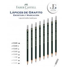 Lápiz de Grafito con Borrador 1 Castell 9000 Dureza HB F H 2H 3H 4H 5H 6H FABER CASTELL