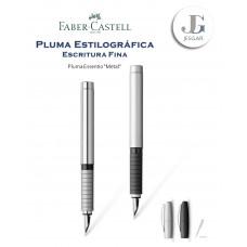 Pluma estilográfica Essentio metal M plata mate cromado pulido Faber-Castell