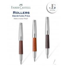 Roller e-motion Madera de Peral, marrón oscuro coñac negro Faber-Castell