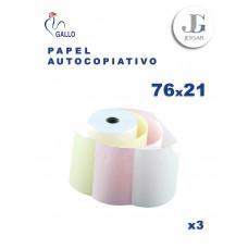 Contómetro Autocopiativo 76 x 21 mts x 13 x 3 Original + 2 Copia  (BCO-AMR-ROS) - Gallo