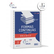 Papel Contínuo Autocopiativo 9 7/8 x 11 x2copias Paquete 500 - Gallo