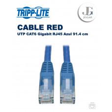 Cable de RED Ethernet UTP Moldeado Snagless Cat6 Gigabit RJ45 Azul 91.4 cm TrippLite