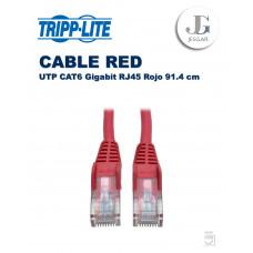 Cable de RED Ethernet UTP Moldeado Snagless Cat6 Gigabit RJ45 Rojo 91.4 cm TrippLite