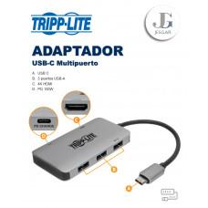 Adaptador Multipuerto USB-C HDMI 4K 3 USB-A CARGA 100W GRIS TRIPPLITE