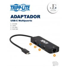 Adaptador Multipuerto USB-C HDMI 4K USB-A RJ45 GBE Carga 100w Negro Tripplite
